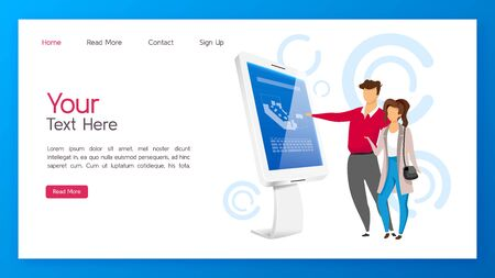 Information kiosk landing page vector template. Interactive display website interface idea with flat illustrations. Digital panel with touchscreen homepage layout. Innovative technology web banner