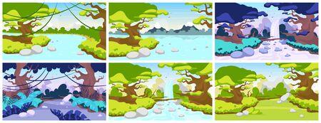Illustration vectorielle plane de la jungle. La faune méditerranéenne. Paysage de forêt tropicale. Scène panoramique avec arbres et rivières. Terre sauvage exotique. Cascade amazonienne. Fond de dessin animé de forêt tropicale