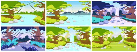 Jungle flat vector illustration. Mediterranean fauna. Tropical forest landscape. Panoramic scene with trees and rivers. Exotic wild land. Amazon waterfall. Rainforest cartoon background