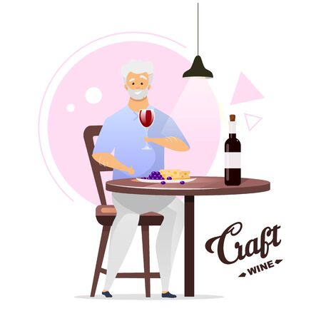 Man enjoying glass of wine flat color vector illustration. Winemaking, vinification. Winemaker with glassful. Male character drinking alcohol beverage. Isolated cartoon character on white