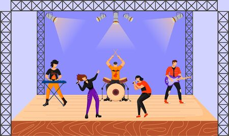 Rock band flat vector illustration. Music group with two vocalists performing at concert. Musicians playing together on stage. Live musical performance. Festival. Cartoon characters