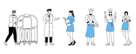 Illustration vectorielle plane des travailleurs de l'hôtel. Portier avec chariot à bagages, directeur du complexe. Portiers, chefs avec ustensiles de cuisine. Femme de ménage, préposé aux chambres. Personnage de dessin animé de trucs de service avec contour sur blanc Vecteurs