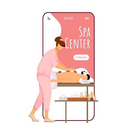Spa center cartoon smartphone vector app screen. Mobile phone display with masseuse flat character design mockup. Pampering, skin treatment service. Beauty salon application telephone interface