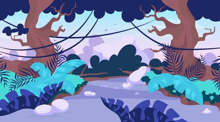 Trail blazing vector illustration. Road in forest. Way through tropical jungle. Panoramic scene with path through trees. Route to explore exotic wild land. Rainforest cartoon background