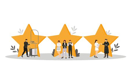 Hospitality service flat color vector illustration. Porter, resort manager, doorman. Housekeeper, waiter, administrator. Rating stars. Hotel staff isolated cartoon characters on white Illusztráció