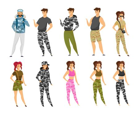 Expeditioners flat vector illustrations set. Woman and man in camouflage uniform. Backpackers in khaki clothes. Explorers in military style fashion. Tourists isolated cartoon characters