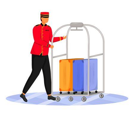 Illustration vectorielle de Bellman plat couleur. Employé d'hôtel transportant des bagages. Portier en uniforme. Personnel de service avec chariot à bagages et valises personnage de dessin animé isolé sur fond blanc Vecteurs