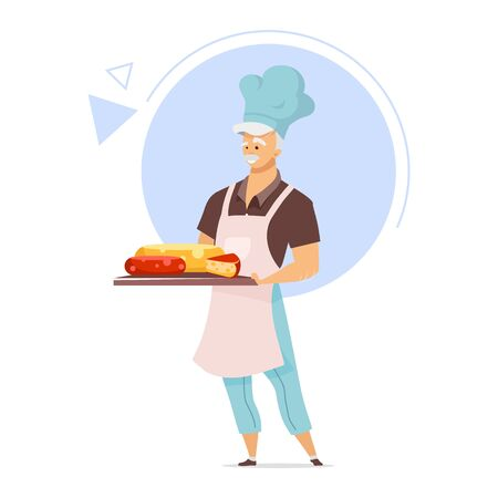 Cheesemaker with tray flat color vector illustration. Cheesemaking concept. Male chef in apron. Cheese store. Food industry. Dairy product. Isolated cartoon character on white background