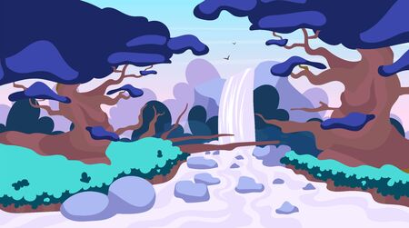 Jungle waterfall flat vector illustration. Fantasy mystical fauna. Tropical forest landscape. Panoramic scene with trees and river stream. Exotic land. Amazon waterfall. Rainforest cartoon background Çizim