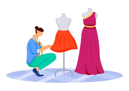 Fashion designer atelier flat color vector illustration. Creating exclusive skirts, dresses at workshop. Designing and sewing clothes in tailor studio isolated cartoon character on white background