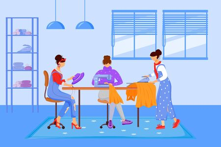 Fashion designers atelier flat color vector illustration. Creating handmade clothing at workshop. Sewing, reparing and ironing clothes in tailor studio isolated cartoon characters on blue background