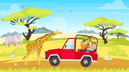 African expedition flat vector illustration. Journey to savannah. Tourist group in car observe giraffes. Woman and man in truck. Elephant in green field. Animals and people cartoon characters