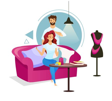 Couple in sewing studio flat color vector illustration. Woman making clothes on sofa. Fashion designer creating garment with colleague. Isolated cartoon character on white background