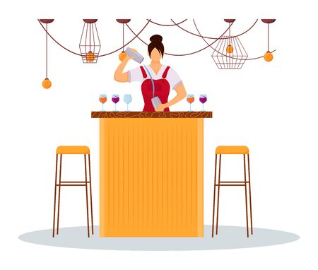 Woman bartender flat color vector illustration. Service staff in uniform at bar counter. Female hotel worker preparing cocktails. Barmaid with shaker isolated cartoon character on white background
