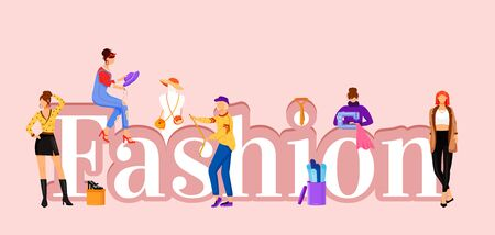 Fashion word concepts flat color vector banner. Catwalk models and designers assistants. Isolated typography with tiny cartoon characters. Designing clothes creative illustration isolated on pink