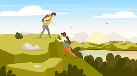 Climbing group flat vector illustration. Hikers couple on mountain hill. Man and woman on peak. Sunrise on river stream. Panoramic landscape scene. Tourist group cartoon characters