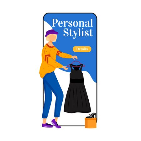 Personal stylist cartoon smartphone vector app screen. Picking right clothes. Choose new outfits. Mobile phone display with flat character design mockup. Fashion trends application telephone interface