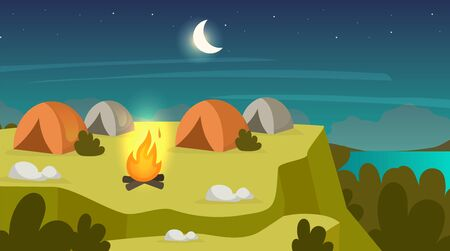 Camping sit flat vector illustration. Night scene with campfire and tents. Overnight stop on mountain peak. Hiking rest on hill plato. Field landscape. Expedition site. Valley cartoon background