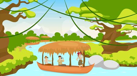 Tourist in boat flat vector illustration. Group on journey in ship. Sailing on river stream. Rainforest landscape. Mediterranean forest with watercourse. Female and male cartoon characters