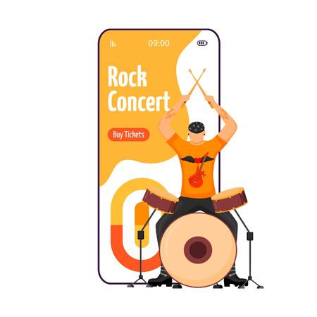 Rock concert cartoon smartphone vector app screen. Drummer. Musician. Gig. Festival, event. Mobile phone display with flat character design mockup. Application telephone cute interface