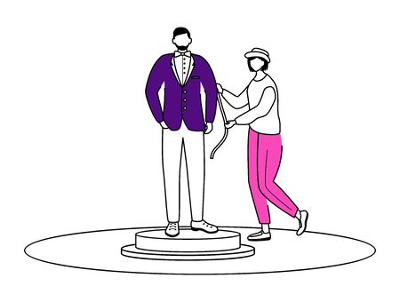Fashion designer making measurements flat contour vector illustration. Creating suit isolated cartoon outline character on white background. Atelier assistant. Individual tailoring simple drawing