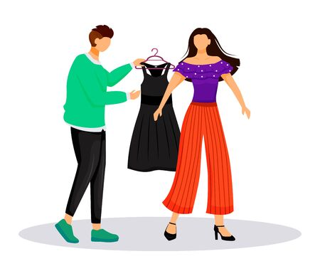 Fashion designer work flat color vector illustration. Dressing up famous people. Choosing outfit for catwalk. Preparing model for runway isolated cartoon character on white background Illustration