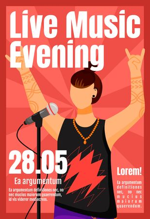 Live music evening brochure template. Rock vocalist. Concert. Flyer, booklet, leaflet concept with flat illustration. Vector page cartoon layout for magazine. Advertising invitation with text space Vettoriali