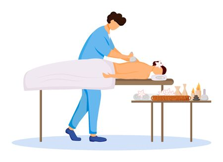 Masseur and client flat color vector illustration. Spa therapy, pampering session at resort. Hotel salon. Massage therapist in blue uniform isolated cartoon character on white background Çizim