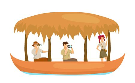 Group in boat flat color vector illustration. Man and woman in ship. Explorers photographing. Tour guide with adventurer in water vessel. Tourists isolated cartoon character on white background