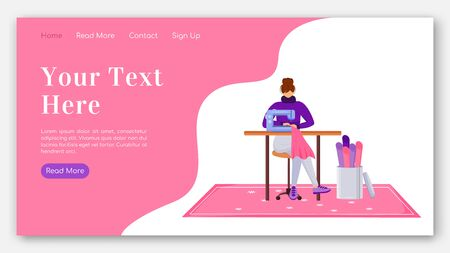 Fashion designer landing page flat color vector template. Assistant with sewing machine homepage layout. Repair clothes one page website interface with cartoon illustration. Atelier banner, webpage