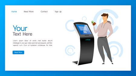Bank terminal landing page vector template. Cash operation website interface idea with flat illustrations. Automated teller machine homepage layout. Self order kiosk web banner cartoon concept