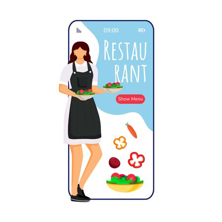 Hotel restaurant cartoon smartphone vector app screen. Mobile phone display with chef flat character design mockup. Food ordering, menu. Catering service application telephone interface