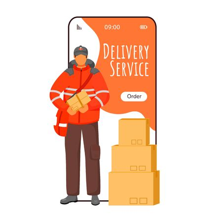 Delivery service cartoon smartphone vector app screen. Parcel tracking notification. Man in UK uniform. Mobile phone displays with flat character design mockup. Application telephone cute interface