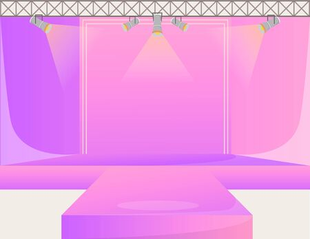 Pink runway platform flat color vector illustration. Empty podium stage. Catwalk with spotlights. Fashion week demonstration area. Presentation of new collection. Fashion shows background 向量圖像