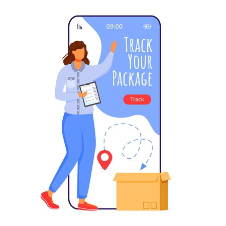Track your package cartoon smartphone vector app screen. Delivery service online. Woman with tablet. Mobile phone displays with flat character design mockup. Application telephone cute interface