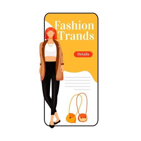 Fashion trends cartoon smartphone vector app screen. Catwalk model style. New designer outfits. Mobile phone display with flat character design mockup. Designer clothes application telephone interface Çizim