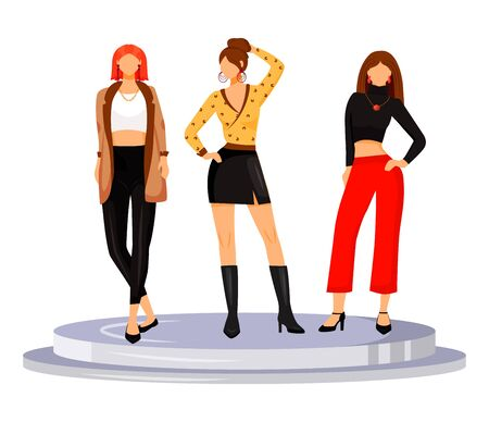 Fashion runway girls flat color vector illustration. Models demonstrate new trends, clothes and accessories. New collection catwalk females isolated cartoon character on white background 向量圖像