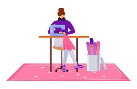 Fashion designer atelier flat color vector illustration. Assistant with sewing machine at workshop. Designing and reparing clothes in tailor studio isolated cartoon character on white background Vector Illustration
