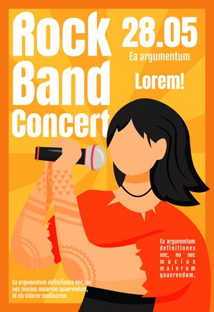 Rock band concert brochure template. Vocalist. Event, gig. Flyer, booklet, leaflet concept with flat illustration. Vector page cartoon layout for magazine. Advertising invitation with text space Çizim
