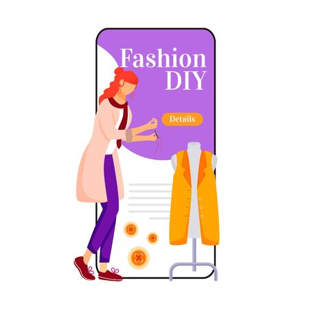 Fashion diy cartoon smartphone vector app screen. Creating and sewing clothes. Designing outfits. Mobile phone display with flat character design mockup. Fashion trends application telephone interface Çizim