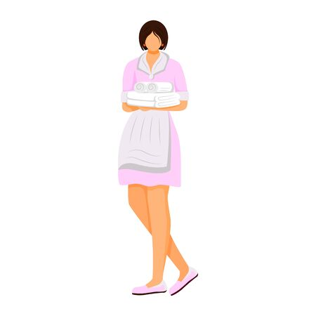 Hotel housekeeper flat color vector illustration. Maid in uniform holding folded towels. Room attendant, housekeeping worker. Cleaning service staff isolated cartoon character on white background Çizim