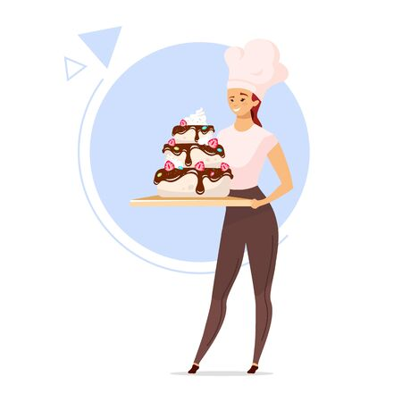 Woman holding tiered cake flat color vector illustration. Female baker in chef hat. Girl with confectionery product. Confections concept. Isolated cartoon character on white background