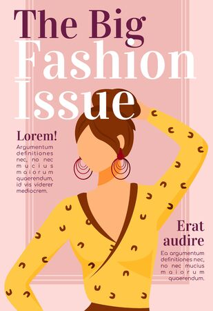 Fashion news magazine cover template. Design issues. Runway models outfits. Journal mockup design. Vector page layout with flat character. Style guide advertising cartoon illustration with text space 向量圖像