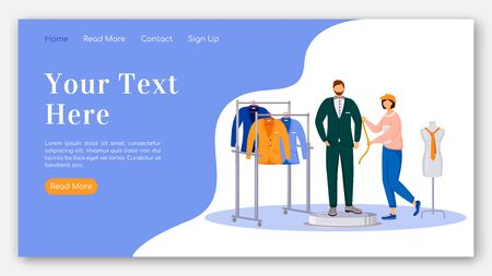 Fashion designer landing page flat color vector template. Taking measurements of man model homepage layout. Design clothes one page website interface with cartoon illustration. Atelier banner, webpage Ilustracja