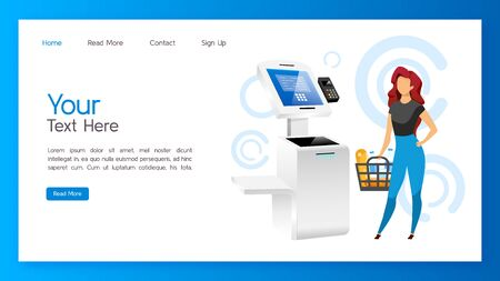 Store self service kiosk landing page vector template. Payment machine website interface idea with flat illustrations. Digital banking homepage layout. Shopping pay pass terminal web banner