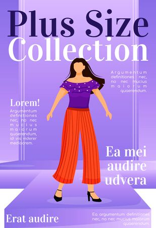 Plus size collection magazine cover template. Runway outfits. Fashion news. Journal mockup design. Vector page layout with flat character. Style guide advertising cartoon illustration with text space