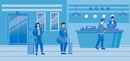 Hotel check in flat vector illustration. Tourists with baggage at reception. Receptionist at front desk with guests in waiting area. Hospitality service. Travelers with suitcases cartoon characters
