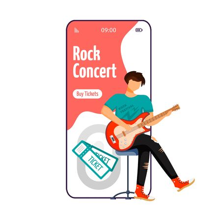 Rock concert cartoon smartphone vector app screen. Guitarist. Sitting guitar player. Musician. Mobile phone display with flat character design mockup. Application telephone cute interface