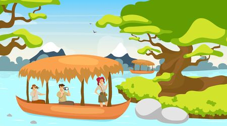 Tourist in boat flat vector illustration. Group on journey in ship. Sailing on river stream. Rainforest landscape. Mystical forest with watercourse. Female and male cartoon characters