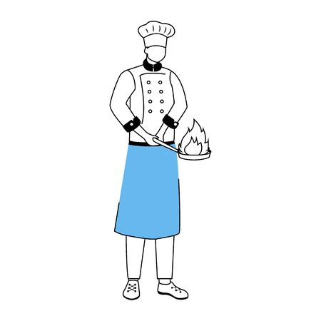 Chef with frying pan flat vector illustration. Hotel restaurant staff. Preparing food, cooking process. Catering service. Kitchen worker in apron cartoon character with outline on white